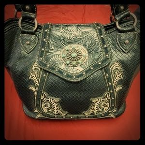 MW Black Beauty Turquoise Conch Western Purse